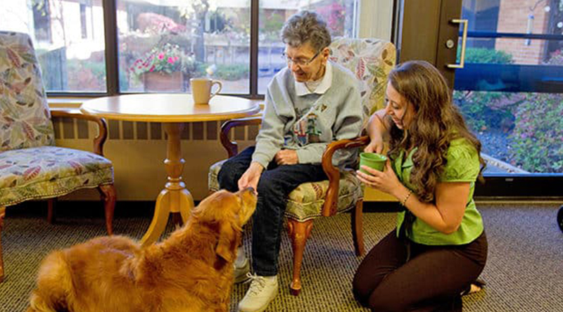 Resident enjoys a visit from a friendly dog at our assisted living facility.